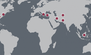 World map showing research project destinations
