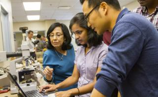 Aerospace engineering doctoral student Nithya Subramanian (center), recently named an Amelia Earhart Fellow by Zonta International, has been studying multifunctional nanocomposites for aerospace applications in ASU Professor Aditi Chattopadhyay's (left) l