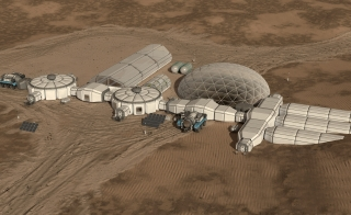 Illustration of Mars habitat
