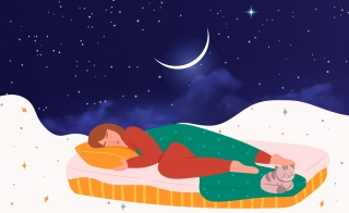 illustration of woman and her cat sleeping on a cloud with a moon and starry sky above