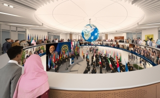 artist rendering of Thunderbird Global HQ's new Global Forum featuring several LED screens for multimedia interaction and presentations