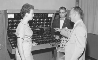 ASU Archival photo shows late ASU engineering professor George Beakley Jr in center