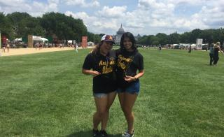 Scholarship recipient and Capital Scholar Montserrat Alvarenga [right] in Washington D.C.