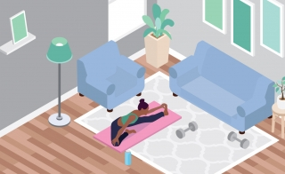 working out at home illustration