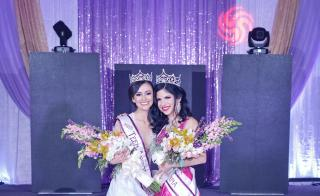 Yulissa Felix, right, was named the winner of the Miss Arizona Latina competition last month. Felix wears a floor-lenght hot pink gown with a slit up the leg. She is holding flowers and wearing a crown. Next to her is the teen pageant winner, in white.
