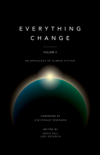 Cover of Everything Change, Volume II, an illustration sunlight peeking over the curve of the Earth, viewed from space, against a black background