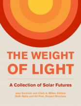 "Cover showing a stylized sun created of differently colored rings, over the title ""The Weight of Light"""