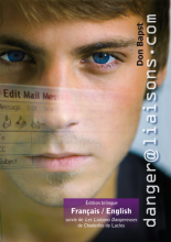 Close up on face of young man with steely blue-eyed stare, transparent image of email message heading superimposed