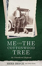 "Book cover of ""Me and the Cottonwood Tree"" with a vintage photo on it"