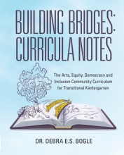 book cover with illustration of open book with tree and bridge and river popping out of it