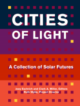 The book cover for Cities of Light, with horizontal bars of dark blue, purple, red, and orange, and an array of small cubes, so the cover looks stylized like the front of a large apartment builiding.