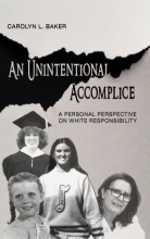 "Book cover for ""An Unintentional Accomplice"" with photos of the author at different points in her life"