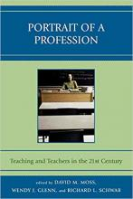 """Cover of """"Portrait of a Profession"""" featuring an image of a teacher sitting at a desk"""