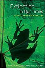 """Cover of """"Extinction in Our Times"""" featuring a frog on a leaf"""