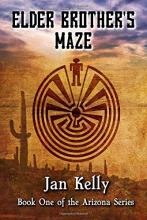 "Cover of ""Elder Brother's Maze"" by Jan Kelly featuring a desert background and a maze design"