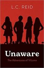 """Book cover for """"Unaware."""" Has a red background with black silhouettes of four people"""