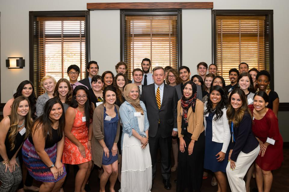Photo of students at the Teach for America lunch with Michael M. Crow, President Arizona State University