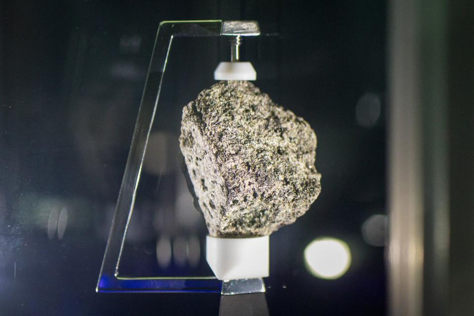 Moon rock in a display case