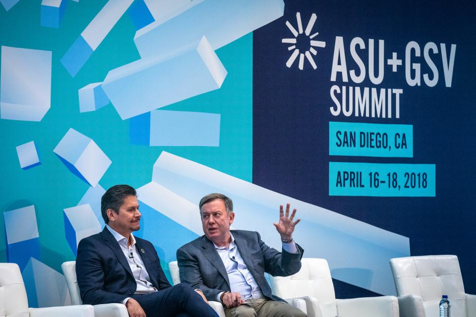 Chancellor Eloy Ortiz Oakley with the California Community Colleges talks with ASU President Michael Crow at the ASU GSV Summit