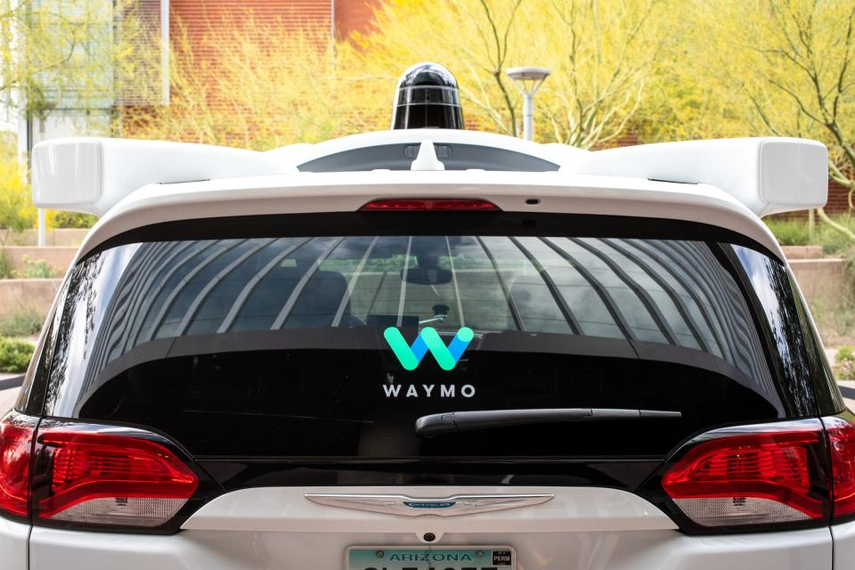 back of self-driving Waymo car