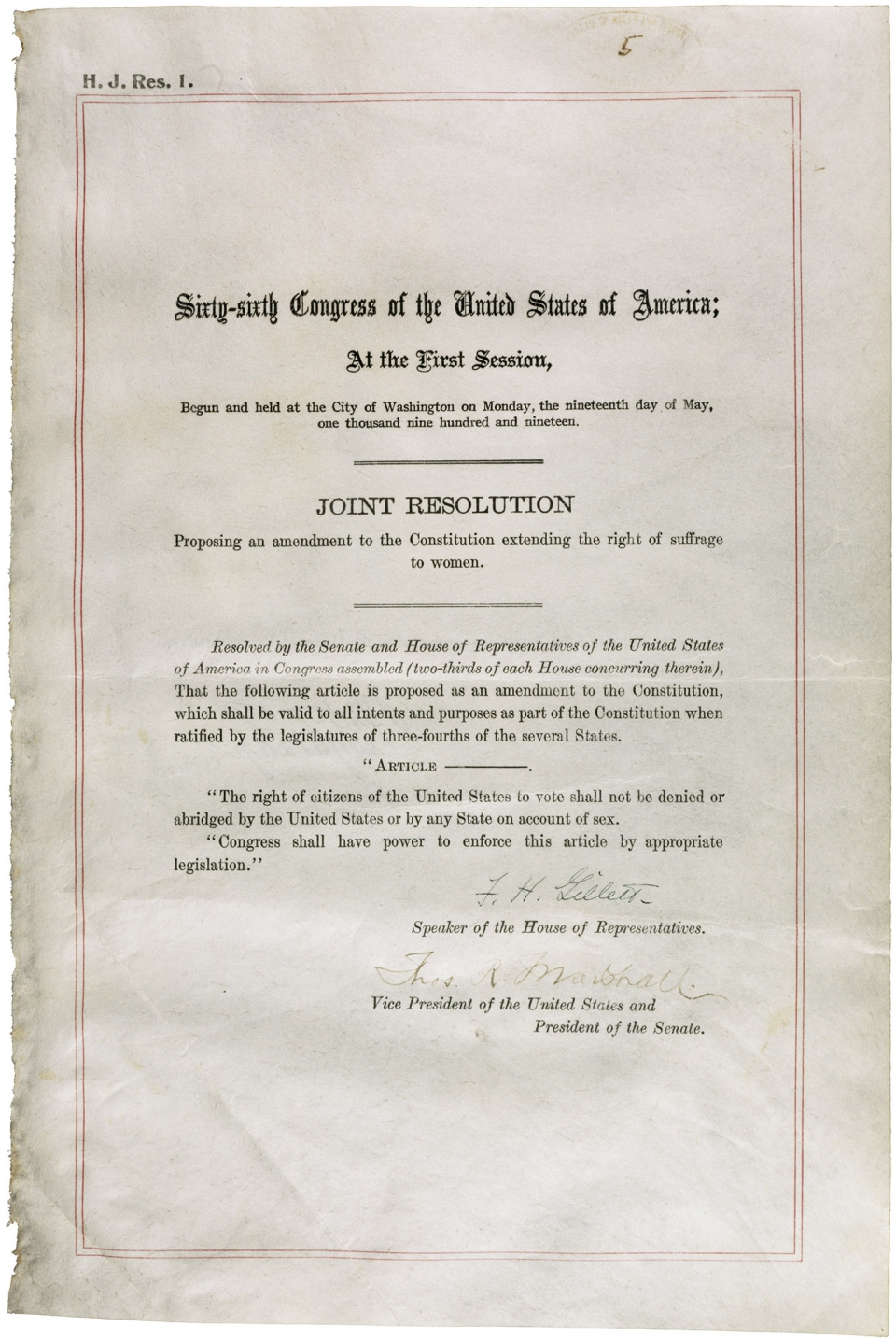19th Amendment document