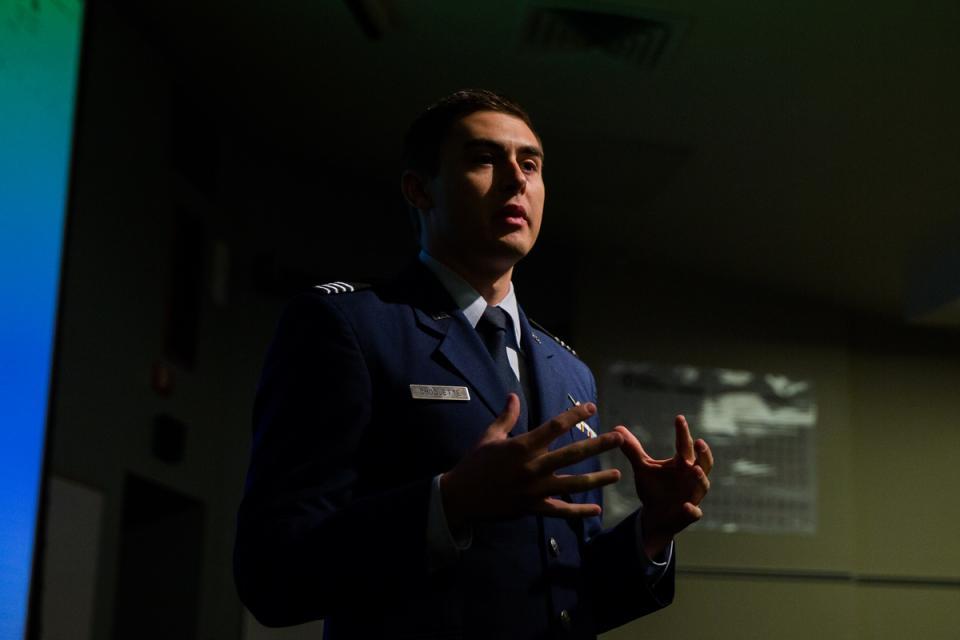 ROTC student giving speech