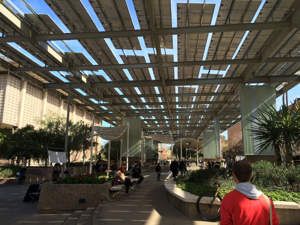 Campus mall with solar panels
