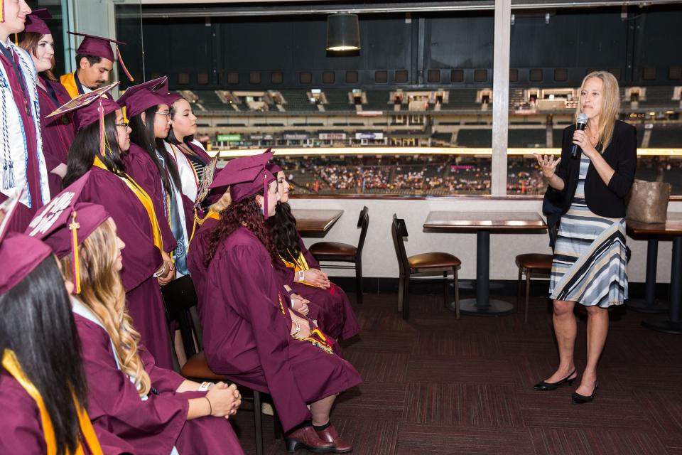 A photograph of Wendy Kopp, founder of Teach for America, speaking at a reception for ASU's TFA graduates