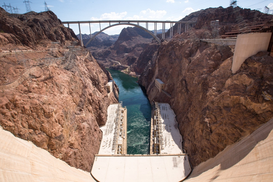 This view of the Mike O'Callaghan-Pat Tillman Memorial Bridge on US 93 was taken from the top of Hoover Dam. Photo by Charlie Leight/ASU News