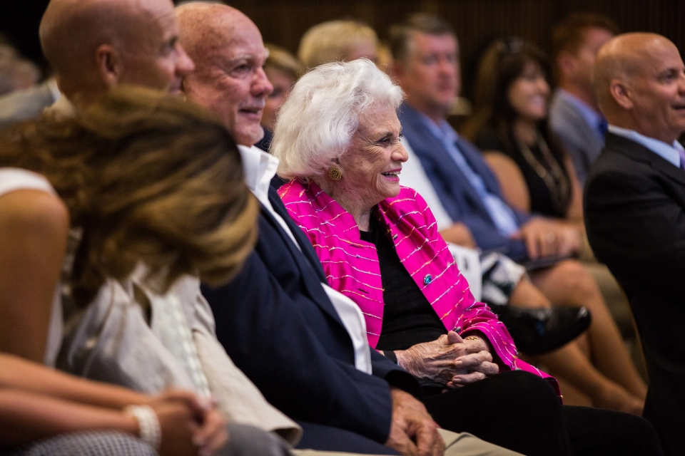 Sandra Day O'Connor in audience, smiling