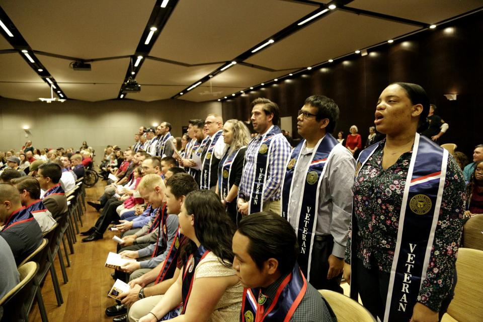 graduates at Veterans Stole Ceremony