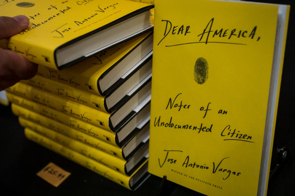 "pile of books titled ""Dear America, Notes of an Undocumented Citizen"""