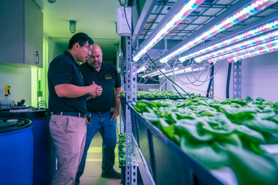 Zhihao Chen and Chad Geelhood inside vertical farm at ASU