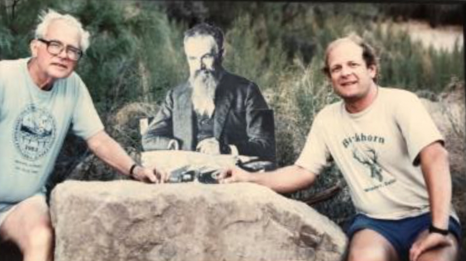 Troy Pewe and James Tyburckzy in Grand Canyon with cardboard John Wesley Powell