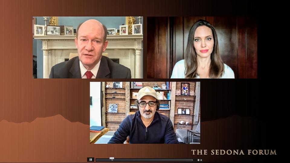 Chris Coons, Angelina Jolie and Hamdi Ulukaya