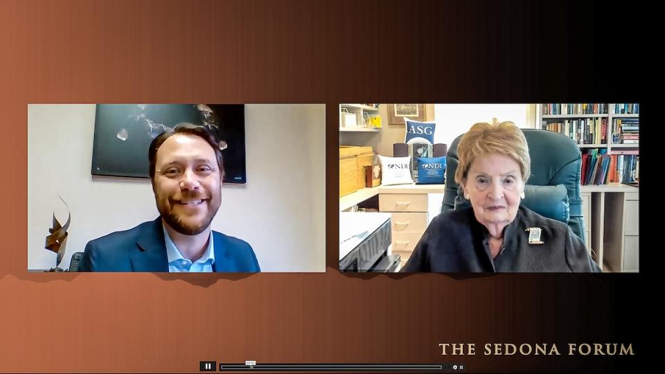 Jason Carter and Madeleine Albright