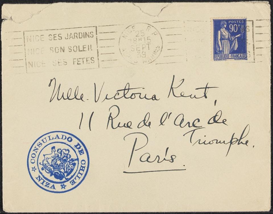 handwritten addressed envelope