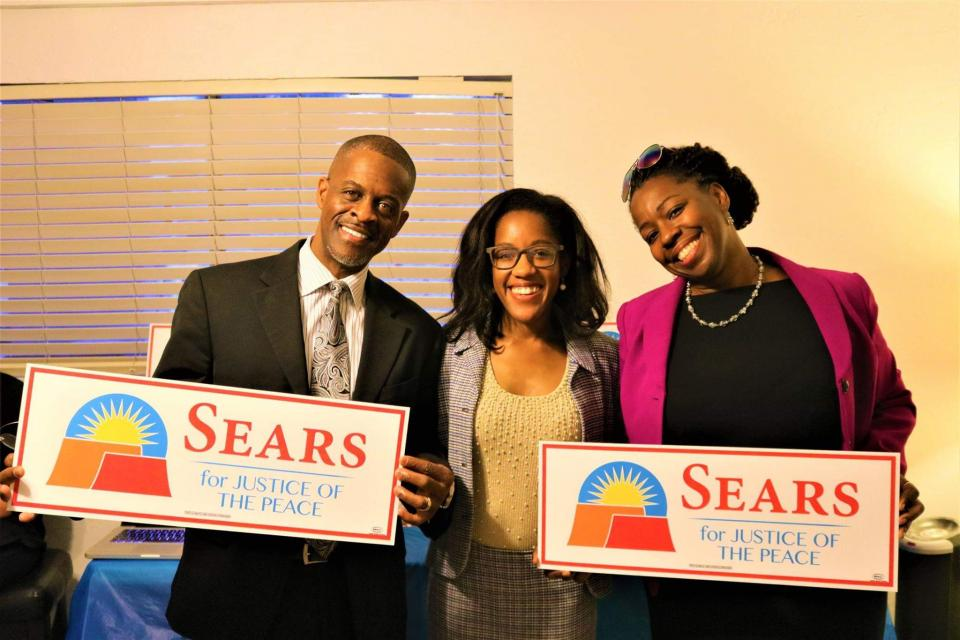 Elaissia Sears poses with her parents after her winning election to become a Justice of the Peace for the West Mesa Justice Court in November 2018.