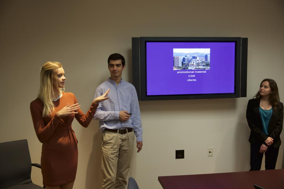 students giving presentation