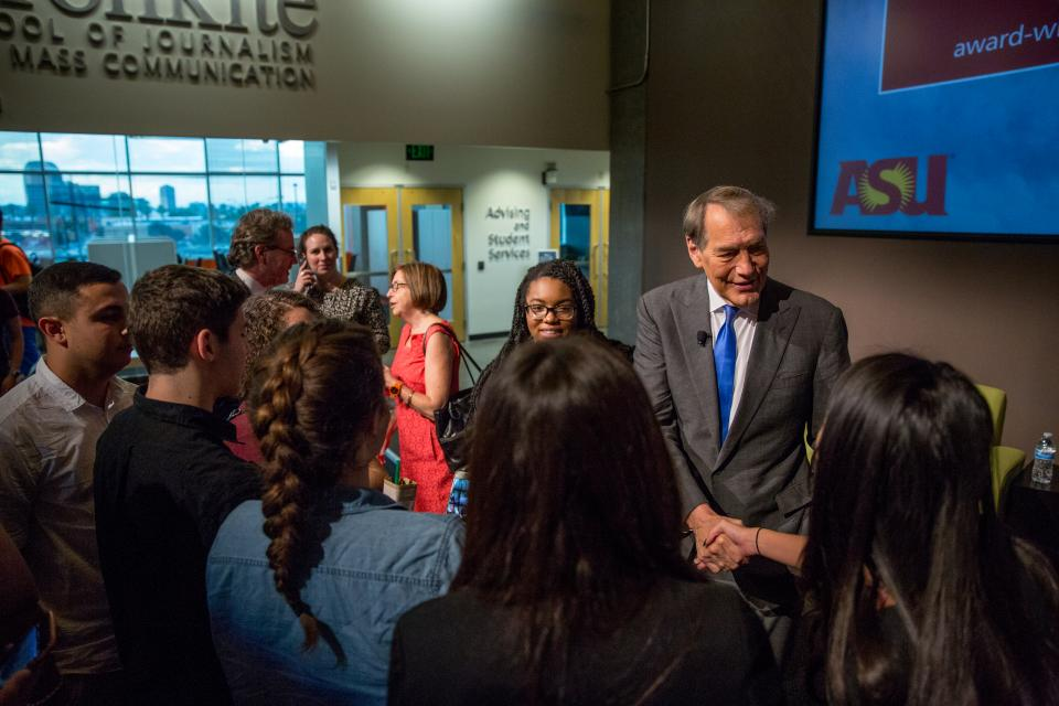 Charlie Rose speaking to ASU students