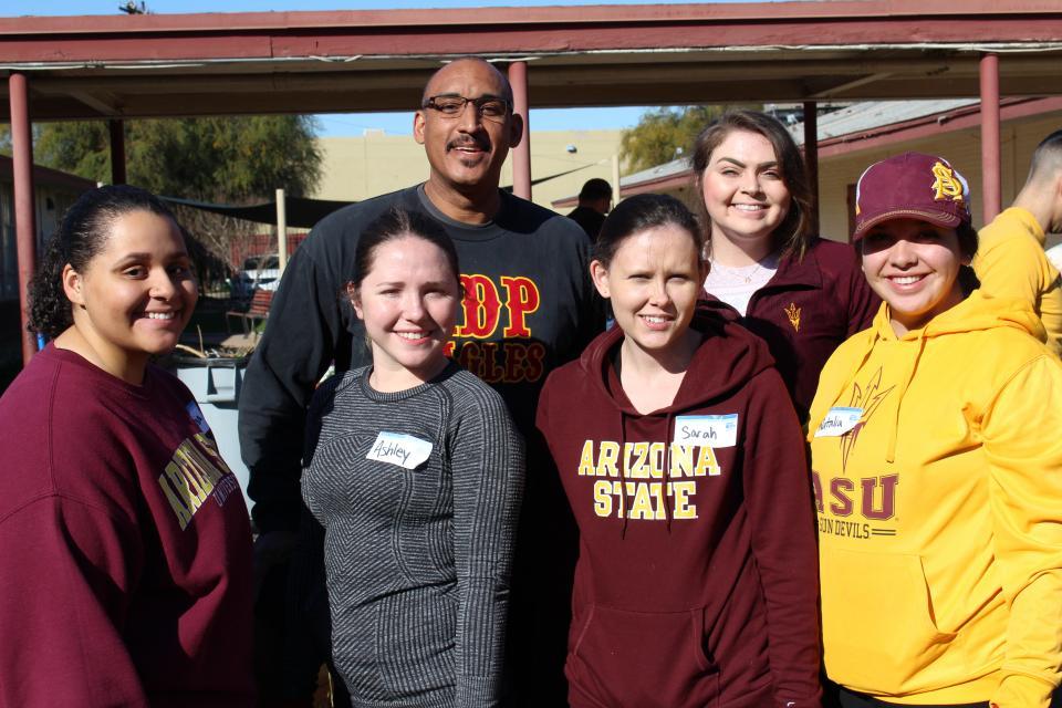 ASU students with Frank Lomeli, Academia del Pueblo principal