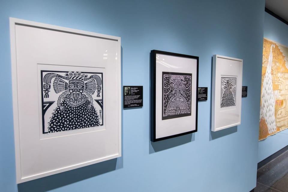 Linocut printmaking artwork from Marco Albarran is on display at the Phoenix Airport Museum