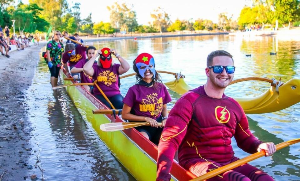 ASU@Lake Havasu City's, TJ Cook, leads outrigger canoe team