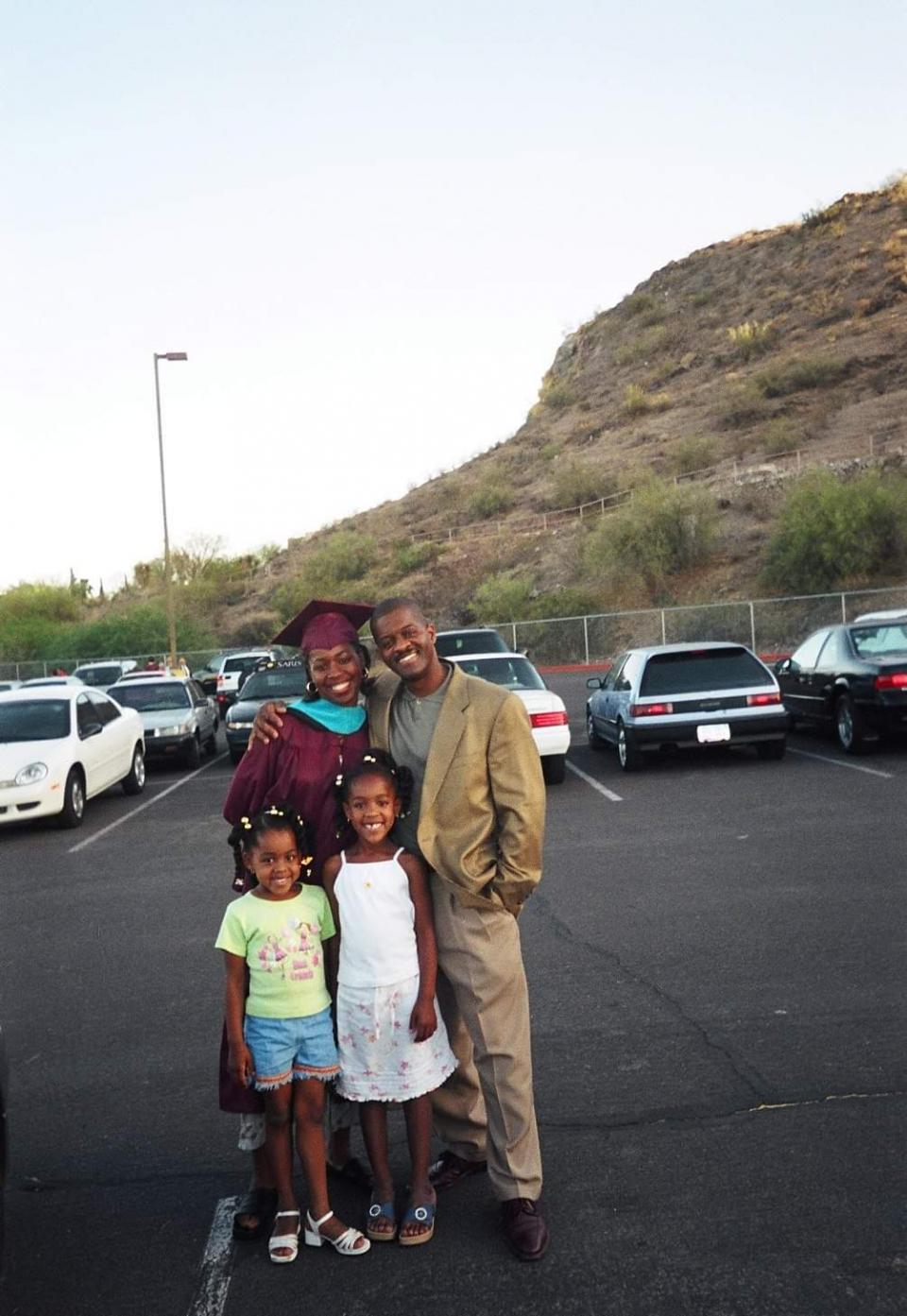Elaissia Sears and sister with their parents in Tempe after her mother Kiana Maria Sears graduated from ASU.