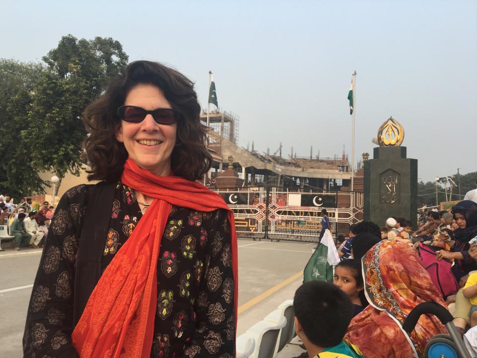 woman in Pakistan wearing red scarf