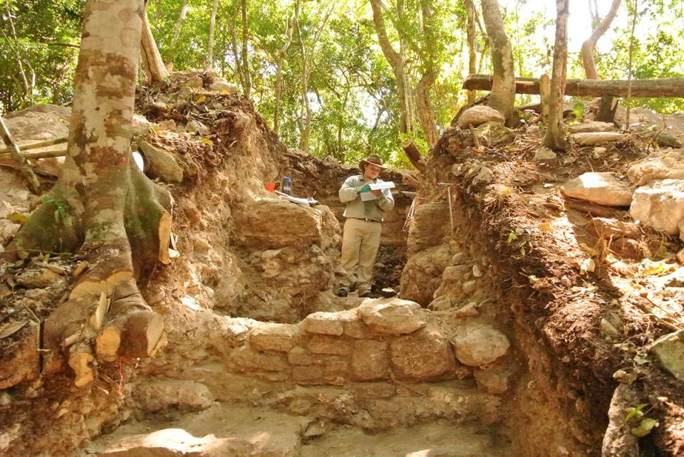 photo of Chase at Caracol archaeological site