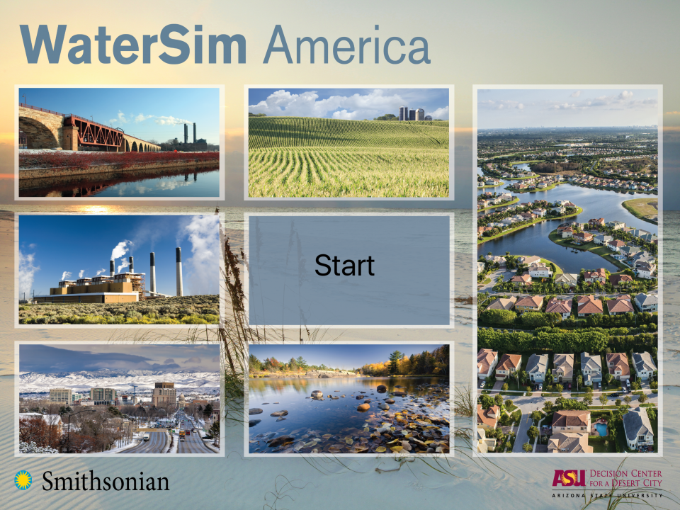 WaterSim America start screen