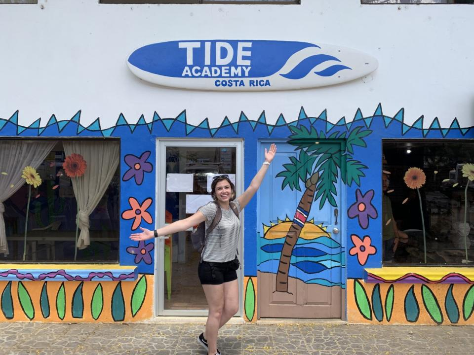 Alyssa Anderson outside the Tide Academy in Costa Rica