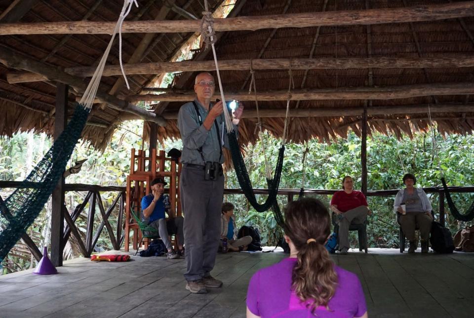 Professor David Pearson teaches a class in the Amazon rainforest