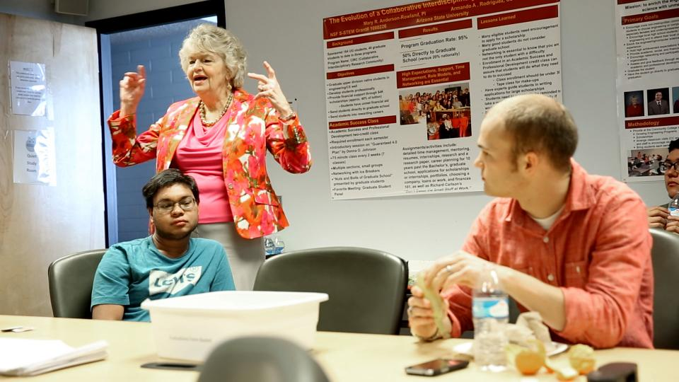 ASU prof Mary Anderson-Rowland and a class